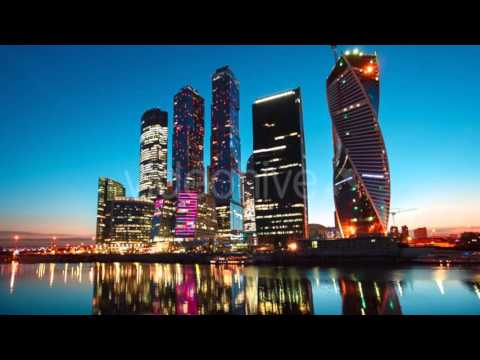 Timelaps Twilight in Moscow International Business Center, Moscow-City Skyscrapers, Russia.