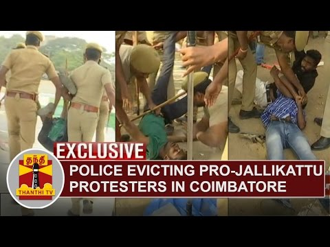 EXCLUSIVE VISUALS | Police evicting Pro-Jallikattu Protesters in Coimbatore | Thanthi TV