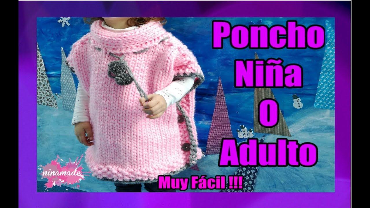 DIY.Poncho Con Dos Agujas Niña o Adulto// Poncho With Two Needles ...