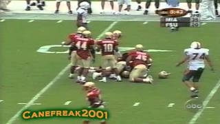2001 Miami Hurricanes vs Florida State Highlights