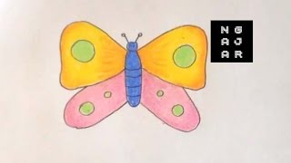 How to Draw Butterfly For Kids (Mewarnai Kupu kupu) Easy