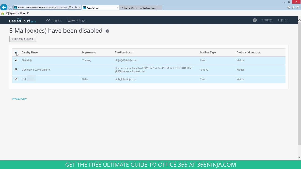 how to hide disabled office 365 mailboxes from the global address