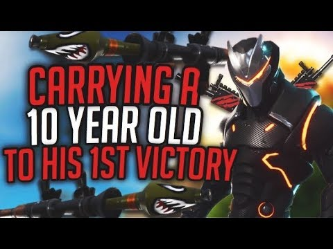 CARRYING A Innocent 10 YEAR OLD TO A VICTORY (18 Frags) FUNNY FORTNITE GAMEPLAY!!