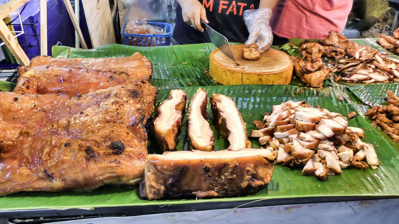 bangkok street food fried chicken and pork seen near central world and ploenchit youtube. Black Bedroom Furniture Sets. Home Design Ideas