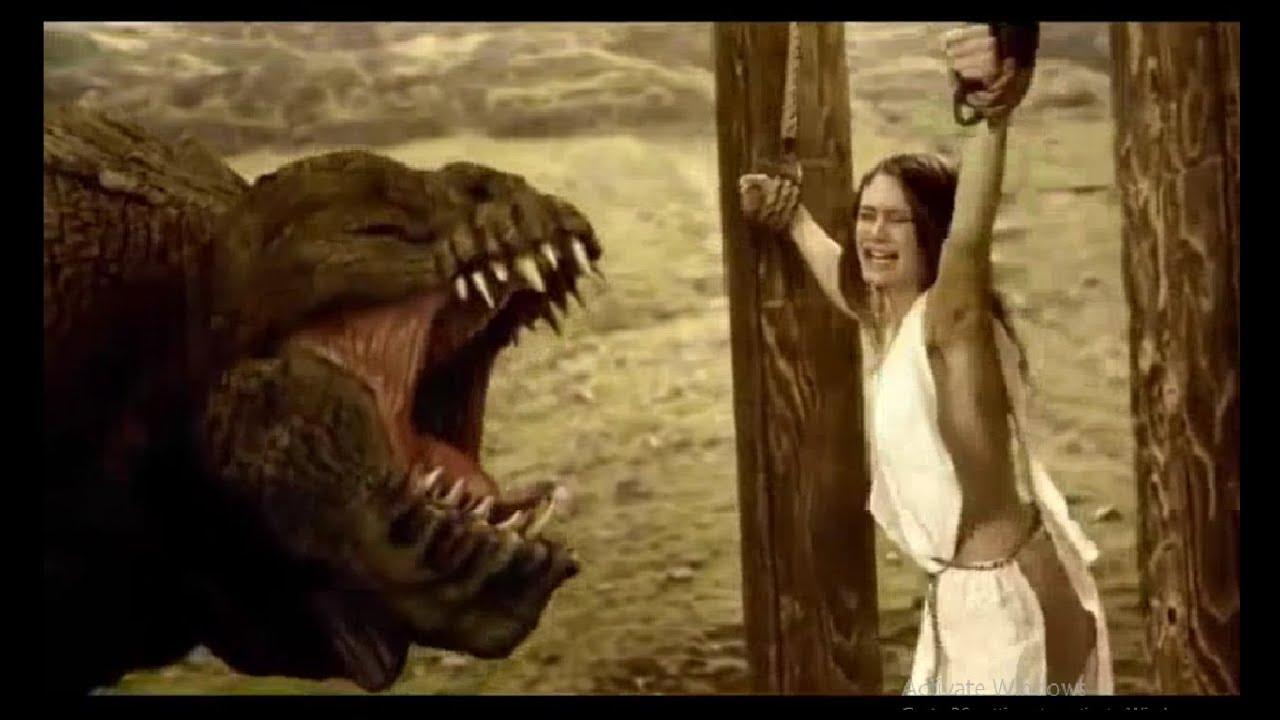 A Deadly Giant beast on beautiful girl - Horror movie scene