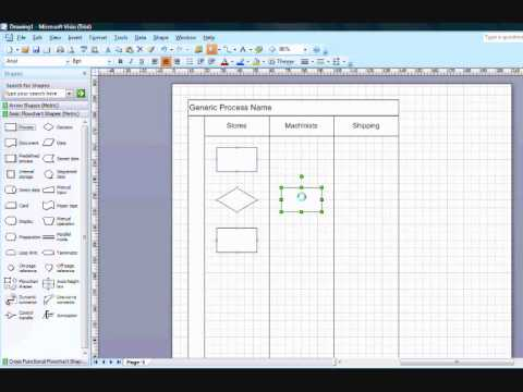 Drawing Lines In Visio : Creating cross functional flow chart in visio youtube