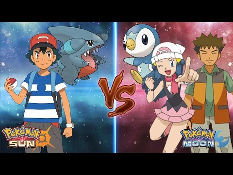 Pokemon Sun and Moon: Ash Vs Dawn and Brock (Piplup Draco Meteor moment!)