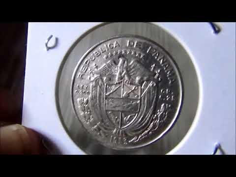 Moeda da Republica de Panama 1953 Un Cuarto de Balboa Cincuentenario