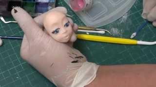 Лепка женской головы из сахарной мастики  3 часть