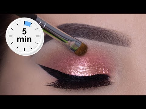 5 MINUTE Easy Glowy Eye Makeup Tutorial - YouTube