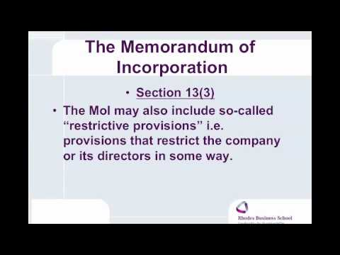 Companies Act, 2008 Memorandm of Incorporation