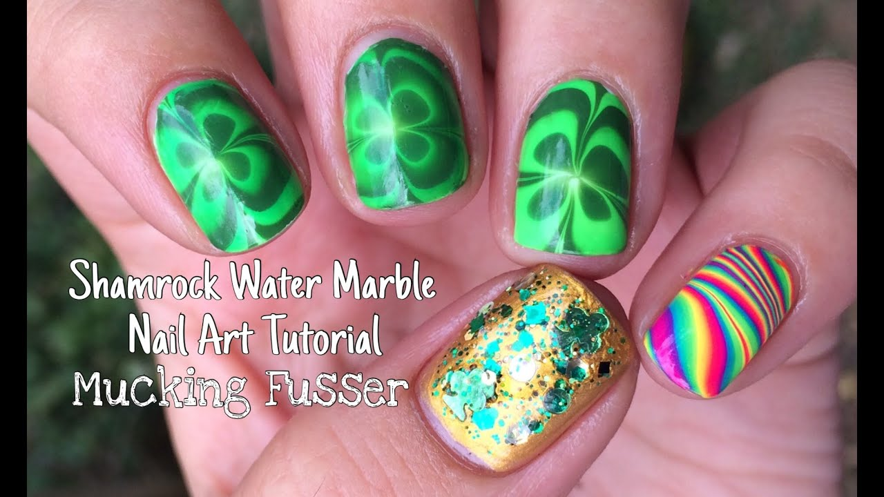 Shamrock Water Marble Nail Art Tutorial - YouTube