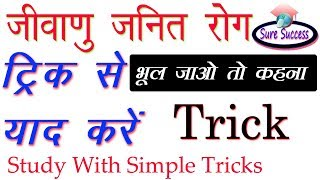 TRICK- जीवाणु जनित रोग (Bacterial diseases)    General Science With Simple Tricks    Sure Success