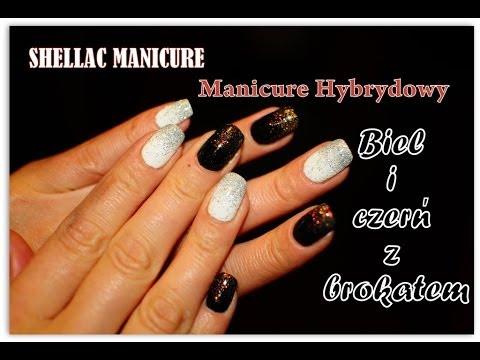 Manicure Hybrydowy Biel I Czerń Z Brokatem Malwina Zabka Youtube