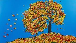 Аппликация из риса для детей - Осенний ветер