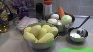 тушеная картошка с курицей и грибами в мультиварке редмонд