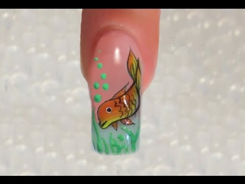 NailArt Design SIMPLE One Stroke Fisch / Fish Design Tutorial 3/3 - YouTube - NailArt Design SIMPLE One Stroke Fisch / Fish Design Tutorial 3/3