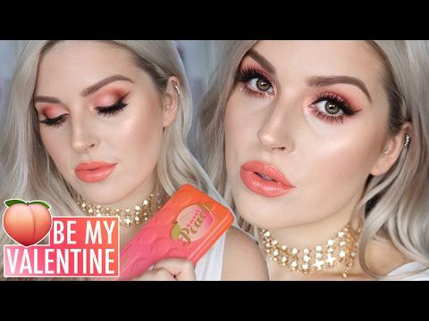 Valentines Day Makeup Tutorial 💕 Sweet Peach Eyeshadow! 🍑