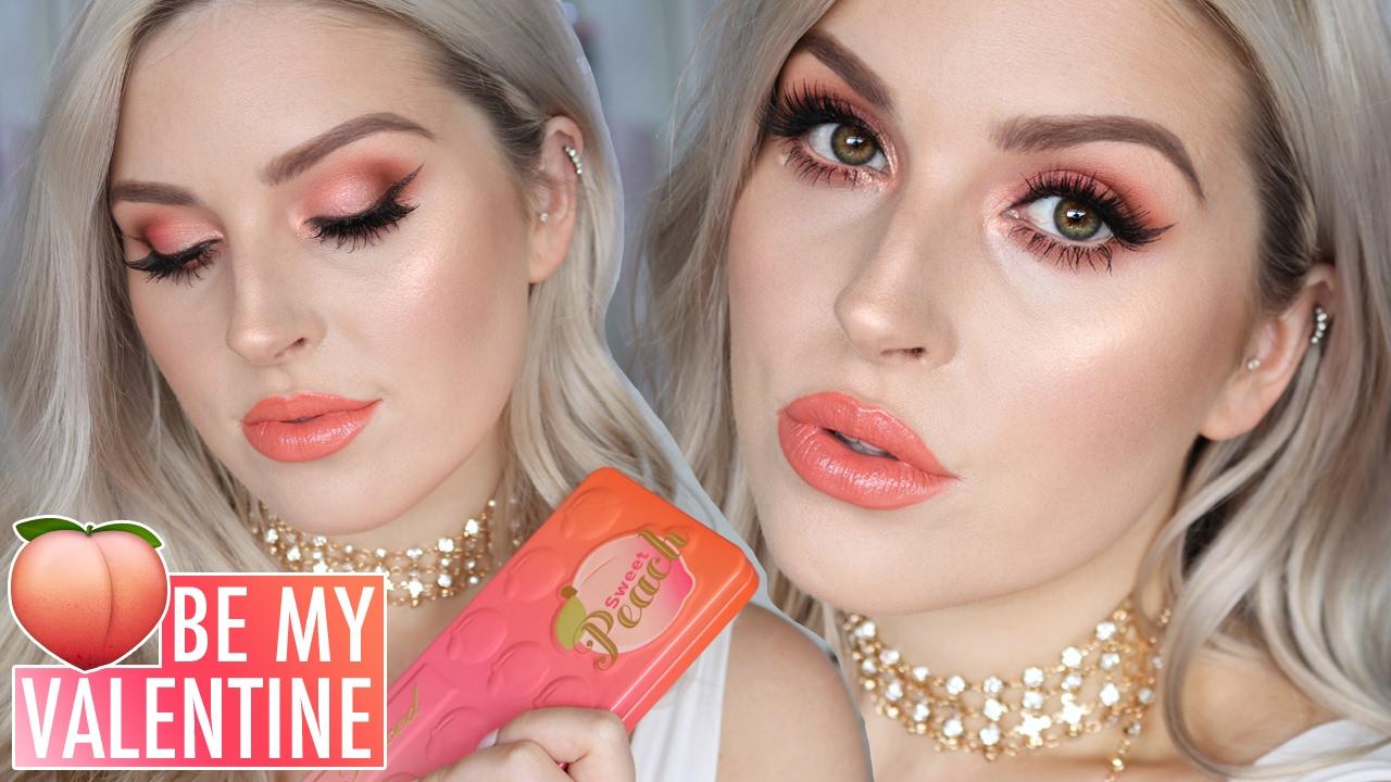 Valentines Day Makeup Tutorial Sweet Peach Eyeshadow Youtube