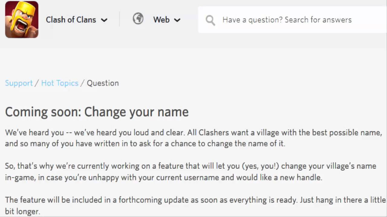 """Clash of Clans - New """"How To Change Your Name"""" Update ..."""