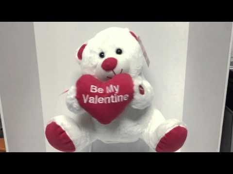 Red & Pink Valentines Bear Animated Plush