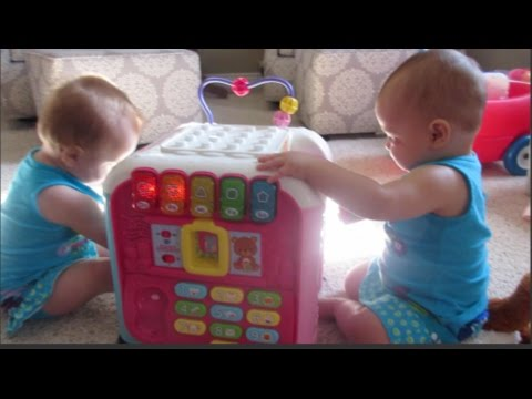 TWINS PLAY WITH VTECH ALPHABET ACTIVITY CUBE DAY 341 06.16.2015