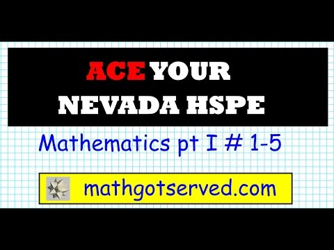 Nevada HSPE high School Proficiency Pt I 1 5 Math NHSPE