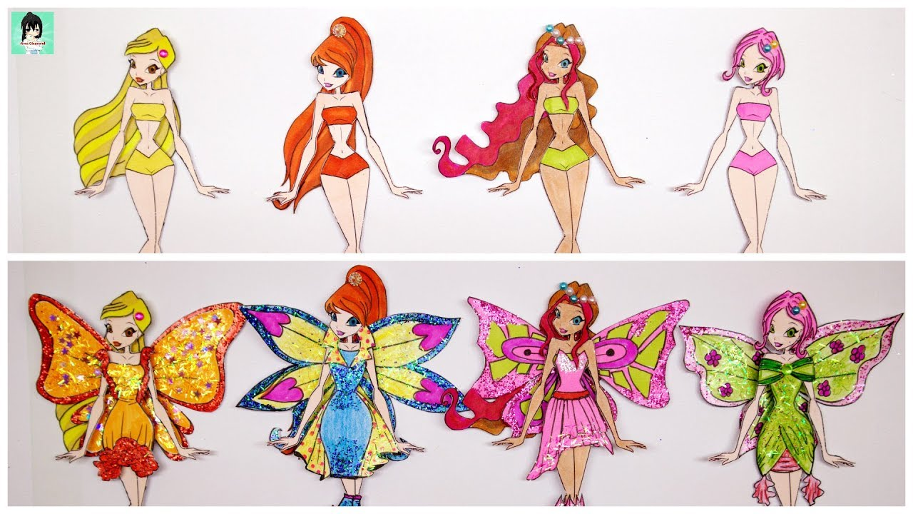 Design dress for winx club paper dolls transform / Paper Dolls Dresses Gliter painting papercraft