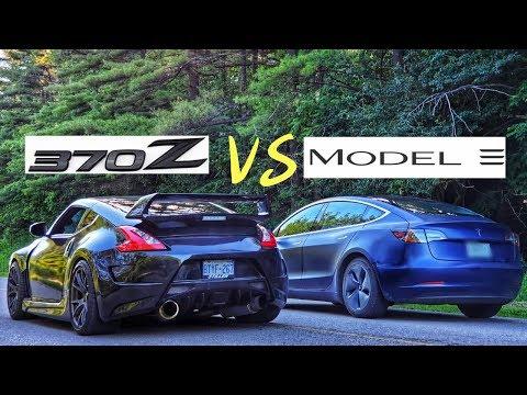 Watch Tesla Model 3 take on Nissan 370Z Twin Turbo in drag race