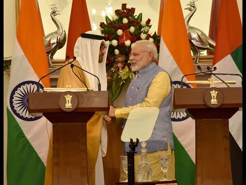PM Modi and H.H Mohammed Bin Zayed The Crown Prince of Abu Dhabi at Joint Press Statement