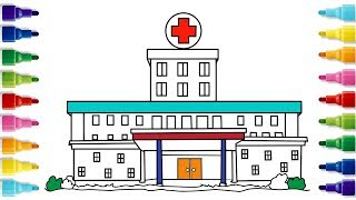 How to Draw a Hospital | Coloring Pages | YZArts
