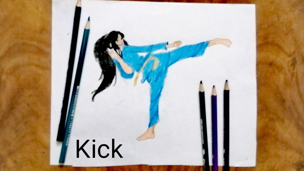 Drawing Martial Arts Girl Speed Colour Pencils Drawing Youtube