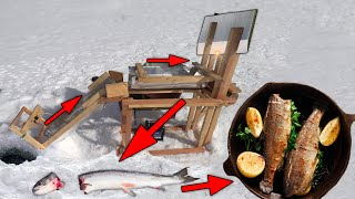 Automatic Trout Catcher with a Guillotine | Catch & Cook Ice Fishing ASMR Build
