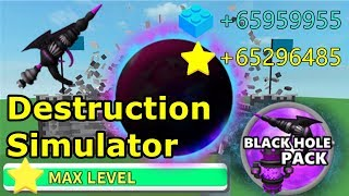 BLACK HOLE PACK 0 to MAX LEVEL - DESTRUCTION SIMULATOR (ROBLOX)