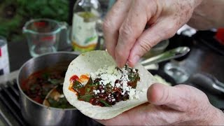 Tacos: Greens And Beans With Red Chile And Fresh Cheese