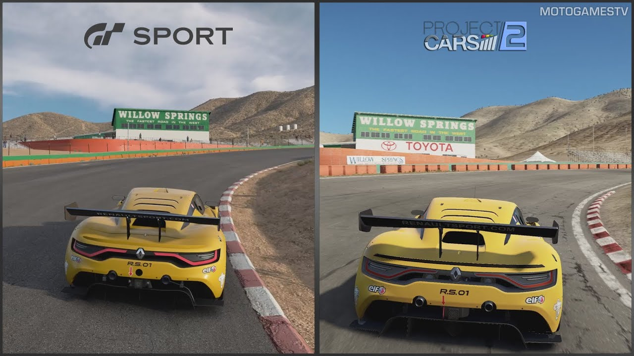 Gran Turismo Sport vs Project CARS 2 - Renault Sport R S 01 at Willow  Springs