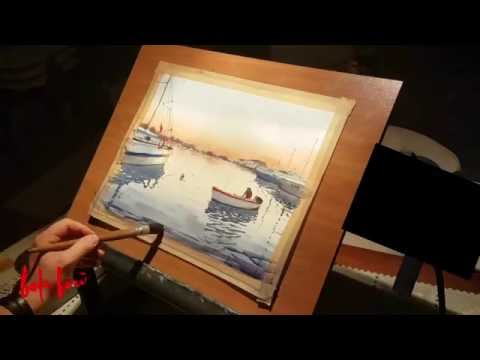 Istanbul Marina Watercolor Painting Demo by Baha Börü - Short Version
