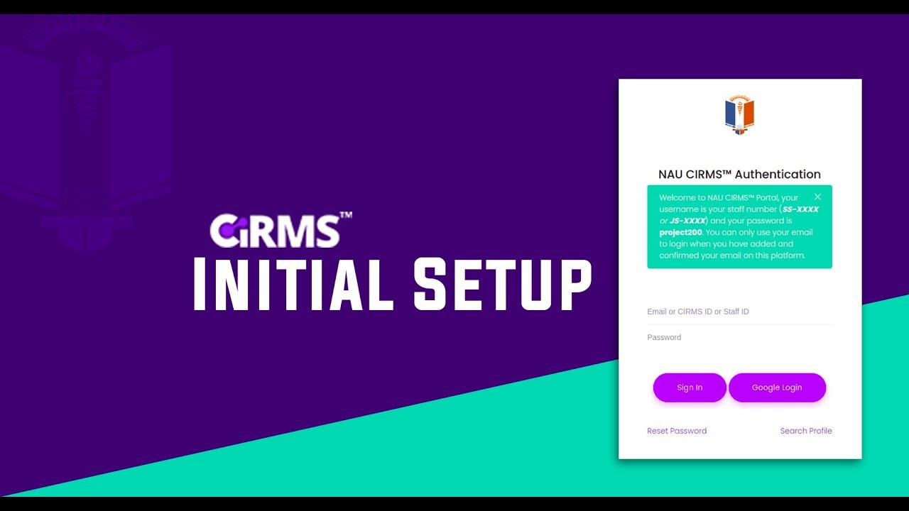 Download CIRMS Initial Account Setup Process