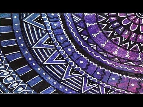 Simple Mandala Drawing on Painted Background - YouTube