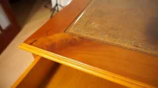Twin Pedestal Writing Desk Yew Wood Veneer Antique Style Brown Leather Top
