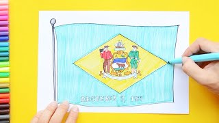 How to draw and color the State Flag of Delaware