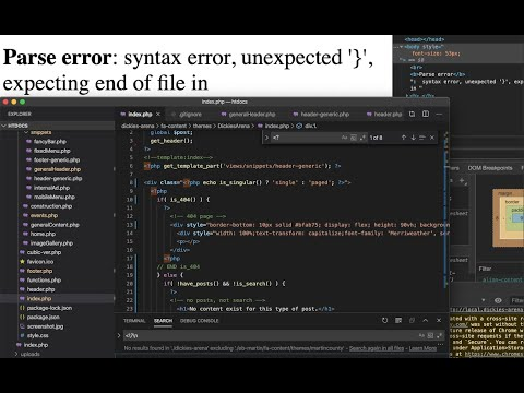 WordPress parse error syntax error unexpected end of file in