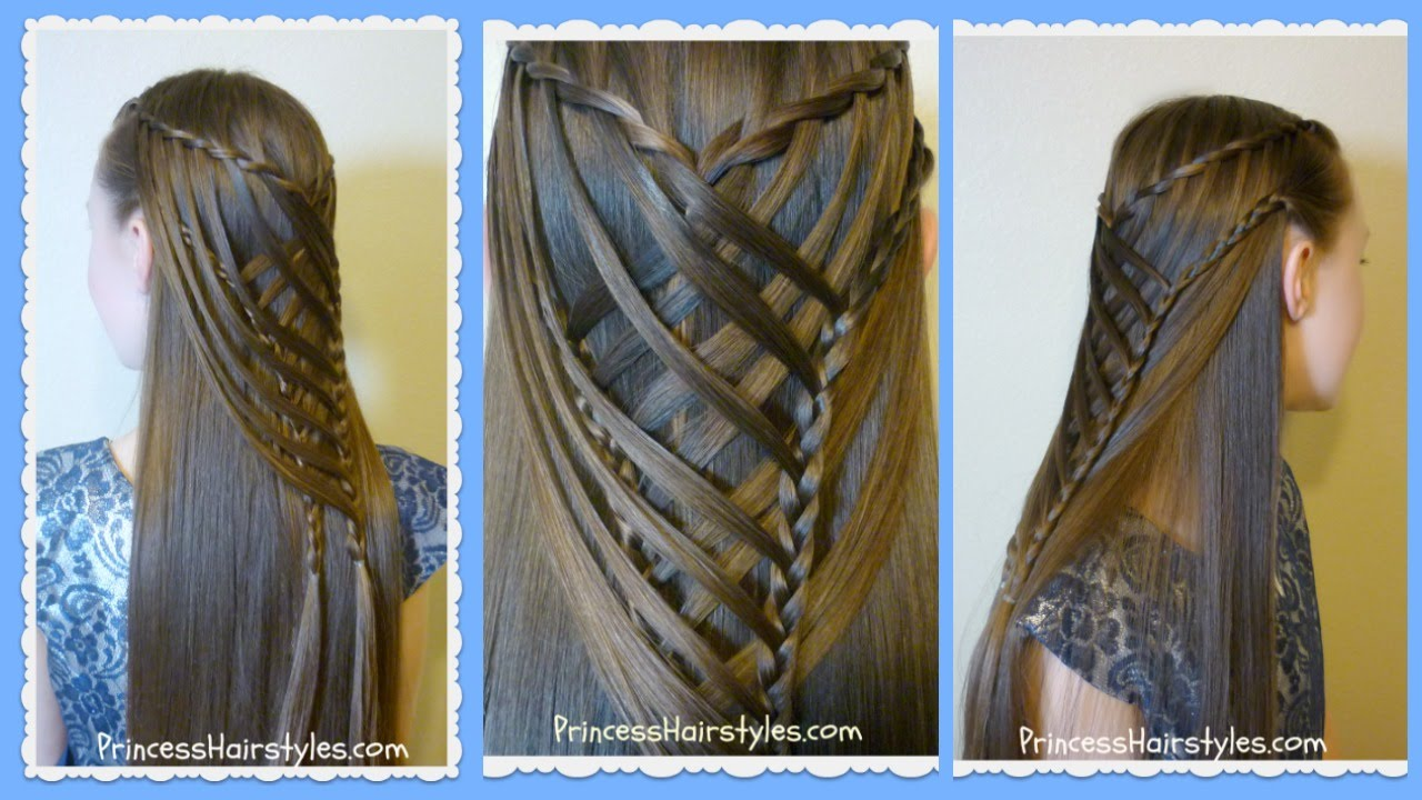 15 Best New Princess Hairstyles: Criss Cross Waterfall Mermaid Braid Hairstyle