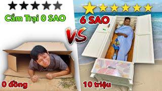 Thử Thách Cắm Trại 0 Sao vs 6 Sao | Chỉ Được Dùng Đồ Trong Siêu Thị - Lều 1 SAO vs 5 SAO