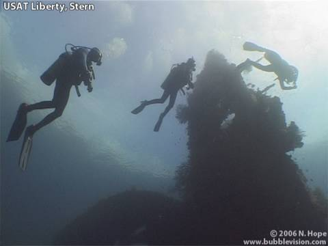 The USAT Liberty was torpedoed by the Japanese off Lombok and beached at Tulamben in Bali. In 1963 the last eruption of Mount Agung caused the wreck to slide deeper into the sea where she lies today.  The USAT Liberty shipwreck makes an excellent dive site. This video features the towering stern, the coral-encrusted gun on the bow, and the wreck's atmospheric interior.  Today the wreck is teeming with marine life. The video includes the famous green humphead parrotfish, a hawksbill turtle, garden eels, sweetlips, cardinalfish, butterflyfish, titan triggerfish, surgeonfish, ringed pipefish, trumpetfish, midnight snapper, corals, a flatworm, mantis shrimp, spinecheek anemonefish, moorish idols and a shrimpgoby.  Shot in May 2006 with http://AquaMarineDiving.com  More Bali diving videos at http://www.bubblevision.com/underwater-videos/Bali/