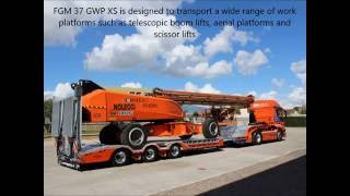 Semi-trailer FGM 37 GWP designed to transport telescopic boom lifts