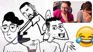 REACCIONANDO a DIBUJOS ANIMADOS DE YOUTUBERS FAMOSOS !! *muy gracioso**
