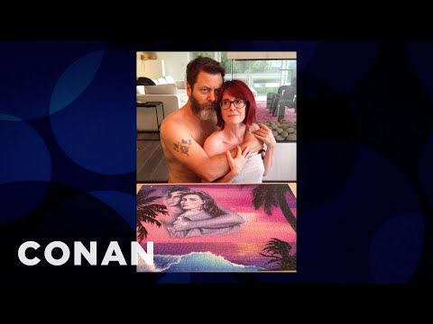 Megan Mullally & Nick Offerman's Cheesy Puzzle Pictures   CONAN on TBS