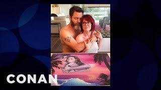 megan mullally nick offermans cheesy puzzle pictures conan on tbs