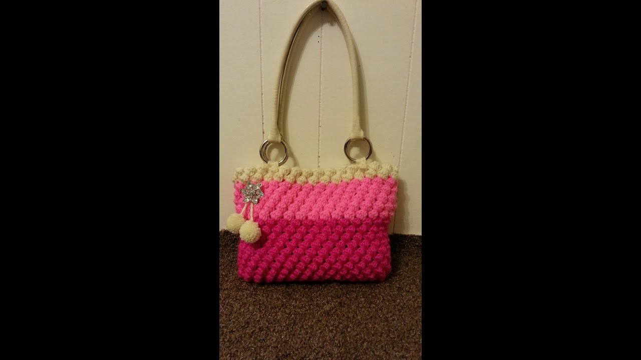Crochet Bag Youtube : ... Crochet womens Bobble Bag Purse #TUTORIAL #174 LEARN CROCHET - YouTube